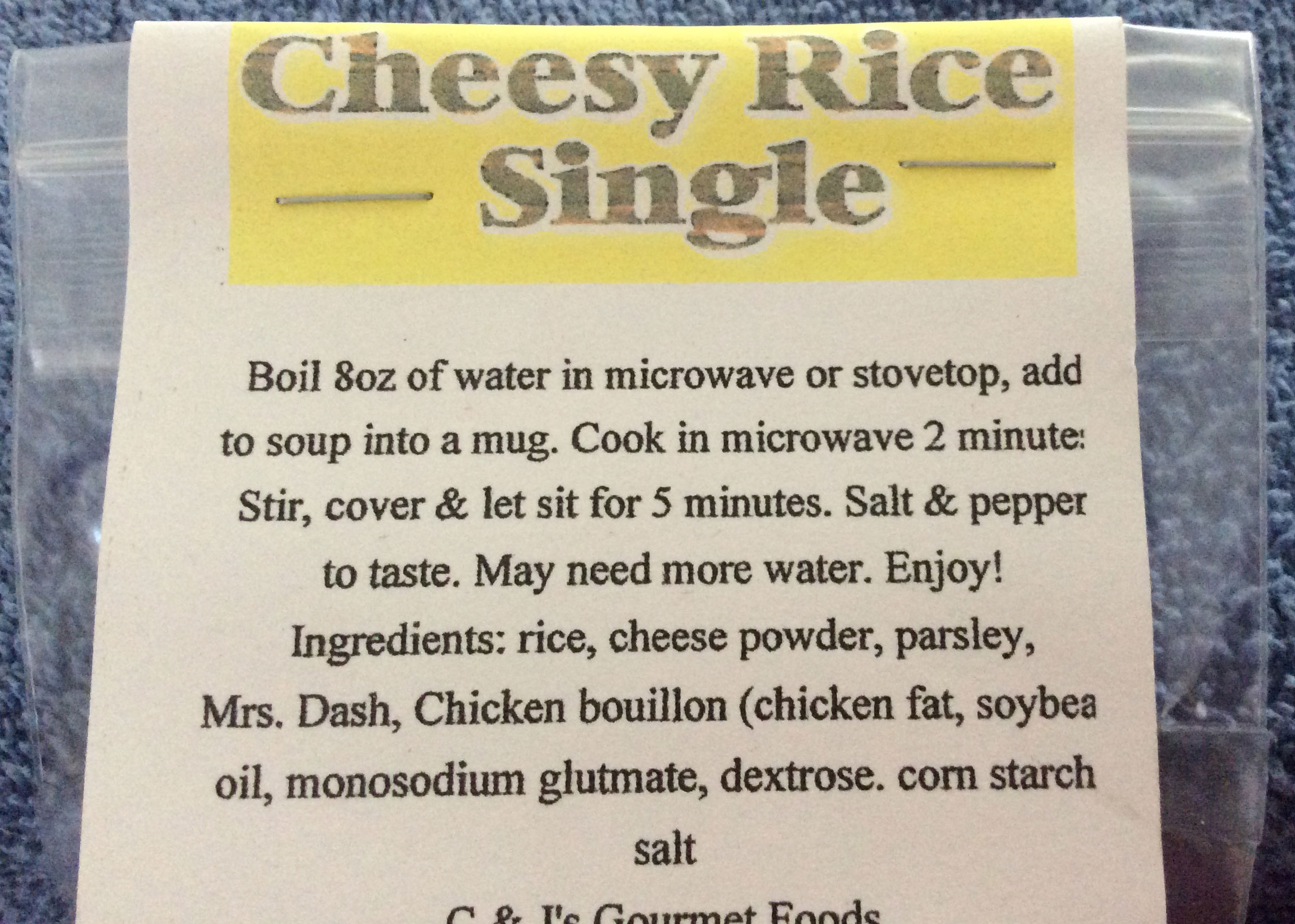 CHEESY RICE SINGLE SOUP